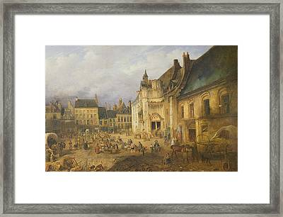 View Of The Place De Lhotel De Ville, Saint-omer, 1832 Oil On Canvas Framed Print by Charles Goureau