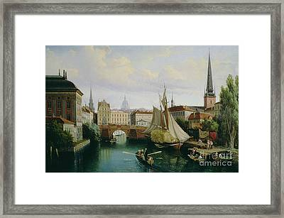 View Of The Riddarholmskanalen Framed Print by Gustav Palm
