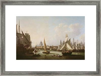 View Of The River Thames  Framed Print by John Thomas Serres