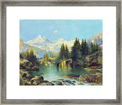 View Of The Rocky Mountains Framed Print by Susan Leggett