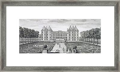 View Of The Royal Chateau Of Saint Maur From The Garden  Framed Print by Jacques Rigaud