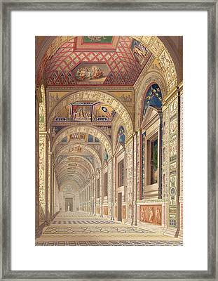 View Of The Second Floor Loggia Framed Print by Italian School