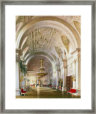 View Of The White Hall In The Winter Palace In St. Petersburg, 1865 Wc On Paper Framed Print by Luigi Premazzi