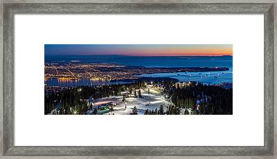 View Of Vancouver City From Grouse Mountain Framed Print by Pierre Leclerc Photography