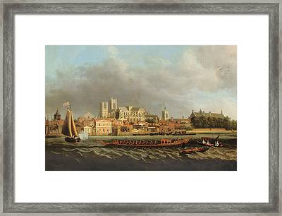 View Of Westminster From Lambeth With A Royal Barge In The Foreground Oil On Canvas Framed Print by Samuel Scott