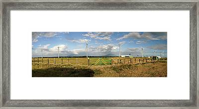 View Of Wind Turbines In Farm Framed Print by Panoramic Images