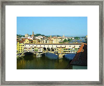 View On Ponte Vecchio From Uffizi Gallery Framed Print by Irina Sztukowski