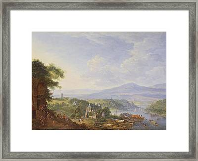 View On The Rhine, Near Cologne Framed Print by Jan the Elder Griffier
