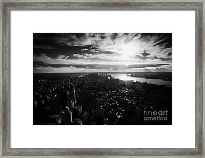 View Over Lower Manhattan At Sunset New York City Usa Framed Print by Joe Fox