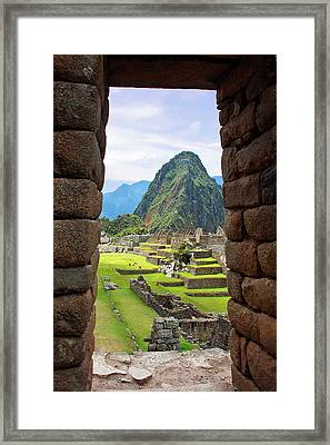 View Through Window Of The Ancient Lost Framed Print by Miva Stock