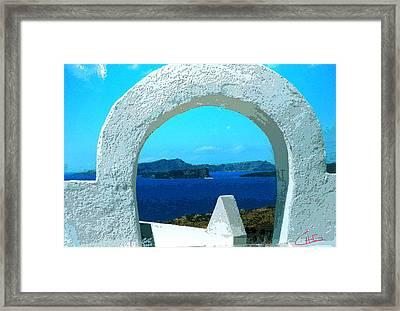 View To Thirasia Island From Santorini Island Greece Framed Print by Colette V Hera  Guggenheim