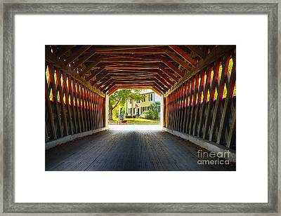 View Through A Covered Bridge Framed Print by George Oze