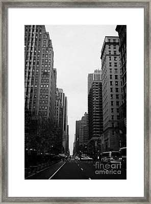 View Up 6th Ave Avenue Of The Americas From Herald Square In The Evening New York City Winter Framed Print by Joe Fox