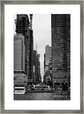View Up West 42nd Street From The Hudson River New York City Framed Print by Joe Fox
