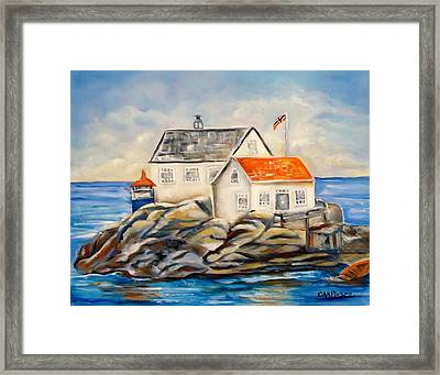 Vikeholmen Lighthouse II Framed Print by Carol Allen Anfinsen