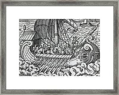 Viking Ship Framed Print by German School