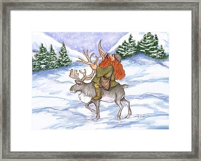 Viking With Reindeer Framed Print by Peggy Wilson