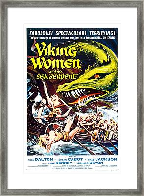 Viking Women And The Sea Serpent Poster Framed Print by Gianfranco Weiss