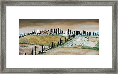 Villa On Hill, Tuscany, 2001 Oil On Canvas Framed Print by Trevor Neal