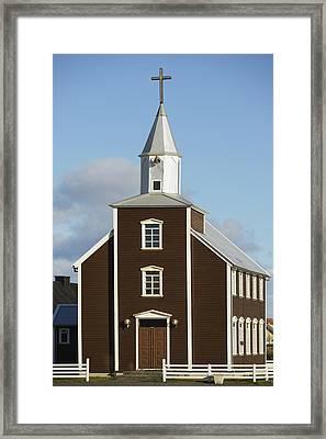Village Church Of Eyrarbakki Framed Print by Michael Thornton