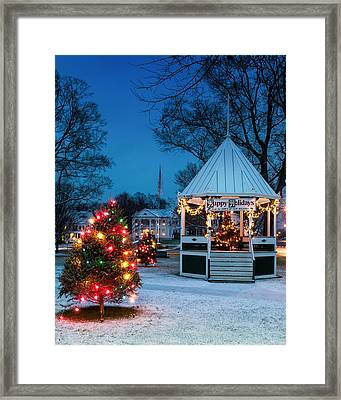 Village Green Holiday Greetings- New Milford Ct - Framed Print by Thomas Schoeller