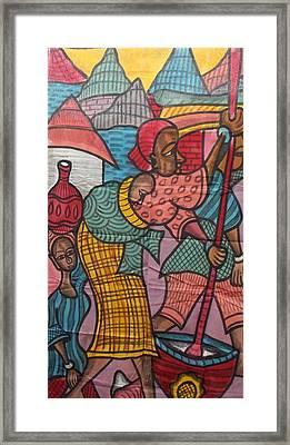 Village Life On Canvas Painting Framed Print by Okunade Olubayo