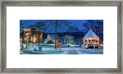 Village Of New Milford - Winter Panoramic Framed Print by Thomas Schoeller