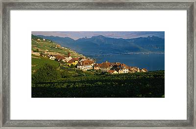 Village On A Hillside, Rivaz, Lavaux Framed Print by Panoramic Images