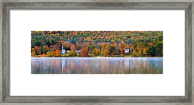 Village On Crystal Lake Autumn  Framed Print by Jeff Sinon
