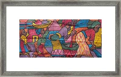 Village Scene Episode Two On Color Painting. Framed Print by Okunade Olubayo