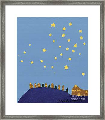 Village Starry Night Framed Print by Michael Cagnacci