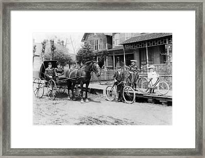 Village Street Scene Framed Print by Underwood Archives