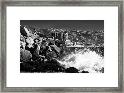 Vina Del Mar Waves Framed Print by John Rizzuto