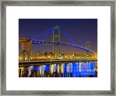 Vincent Thomas Bridge - Nightside Framed Print by Jim Carrell