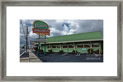 Vinces Speghetti Framed Print by Gregory Dyer