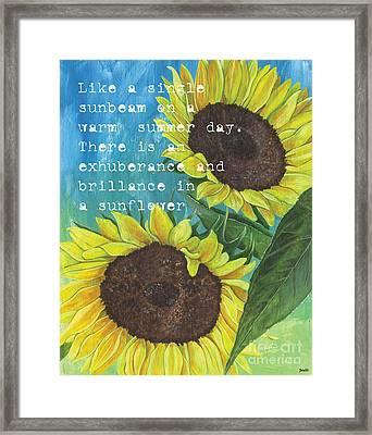 Vince's Sunflowers 1 Framed Print by Debbie DeWitt
