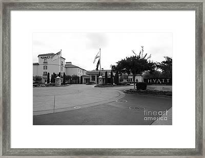 Vineyard Creek Hyatt Hotel Santa Rosa California 5d25789 Bw Framed Print by Wingsdomain Art and Photography