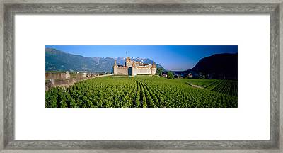 Vineyard In Front Of A Castle, Aigle Framed Print by Panoramic Images