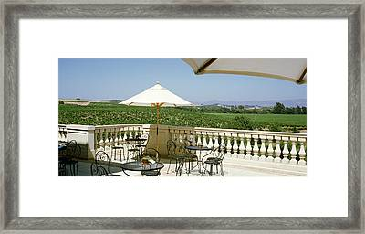 Vineyards Terrace At Winery Napa Valley Framed Print by Panoramic Images