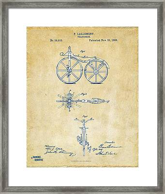 Vintage 1866 Velocipede Bicycle Patent Artwork Framed Print by Nikki Marie Smith