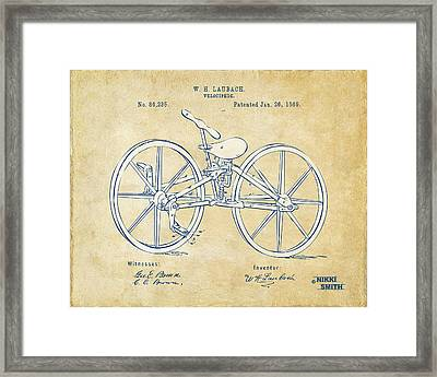 Vintage 1869 Velocipede Bicycle Patent Artwork Framed Print by Nikki Marie Smith