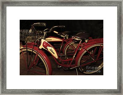Vintage 1941 Boys And 1946 Girls Bicycle 5d25760 Sepia2 Framed Print by Wingsdomain Art and Photography