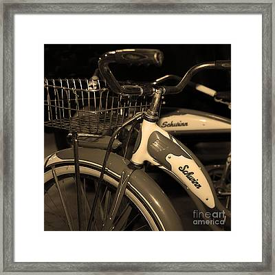 Vintage 1941 Boys And 1946 Girls Bicycle 5d25760 Square Sepia1 Framed Print by Wingsdomain Art and Photography