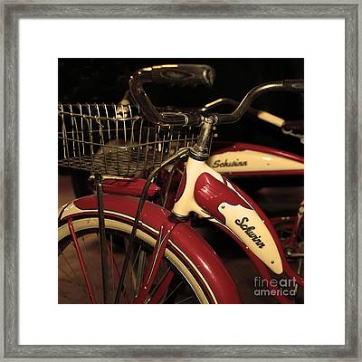 Vintage 1941 Boys And 1946 Girls Bicycle 5d25760 Square Sepia2 Framed Print by Wingsdomain Art and Photography