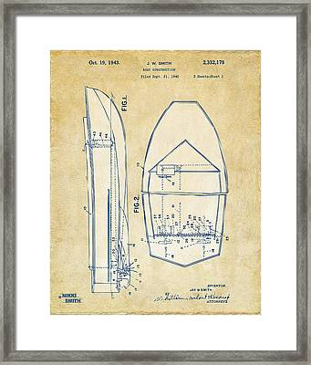 Vintage 1943 Chris Craft Boat Patent Artwork Framed Print by Nikki Marie Smith