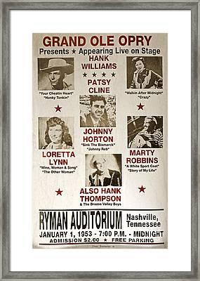 Vintage 1953 Grand Ole Opry Poster Framed Print by John Stephens
