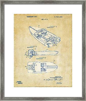 Vintage 1972 Chris Craft Boat Patent Artwork Framed Print by Nikki Marie Smith