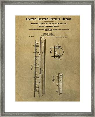 Vintage Abraham Lincoln Patent Framed Print by Dan Sproul