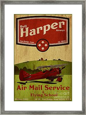 Vintage Air Mail Service Framed Print by Cinema Photography