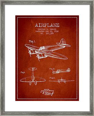 Vintage Airplane Patent Drawing From 1938 Framed Print by Aged Pixel